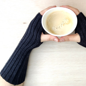 Extra Long Knitted Wool Wrist Warmers - Charcoal