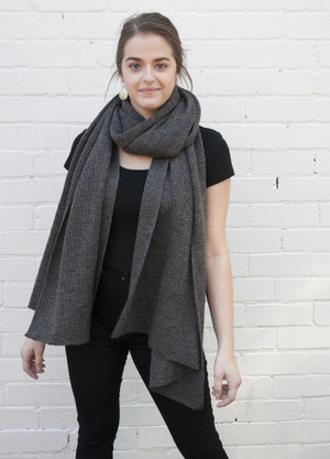 merino wool oversized wrap / scarf  in casino