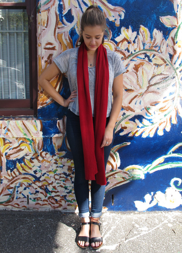 Red Lightweight Merino Wool Scarf