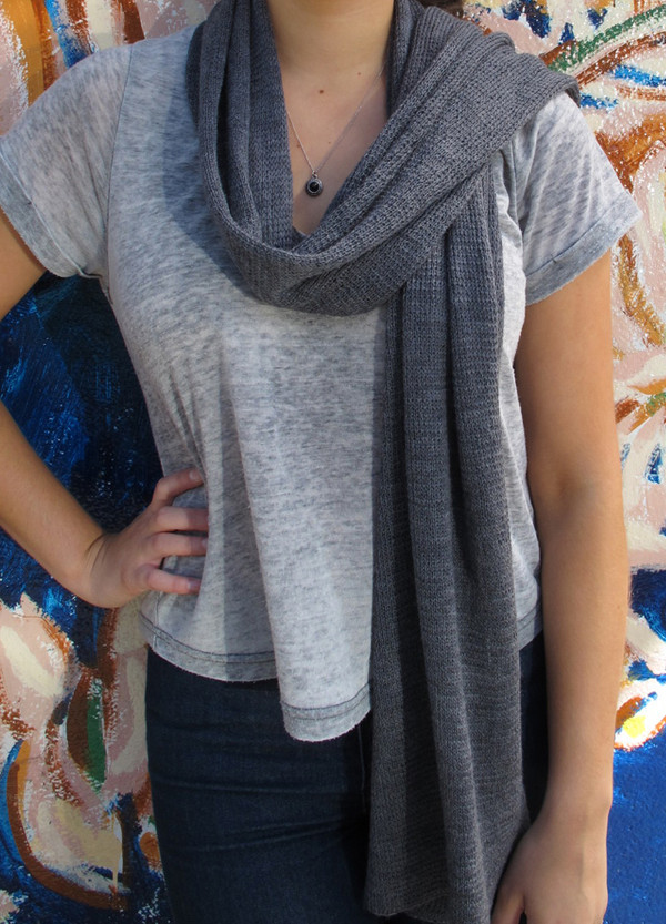 Dark Grey Lightweight Merino Wool Scarf