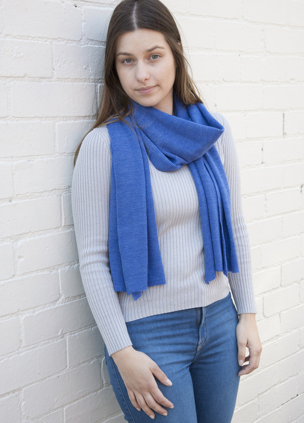 Blue Lightweight Merino Wool Scarf