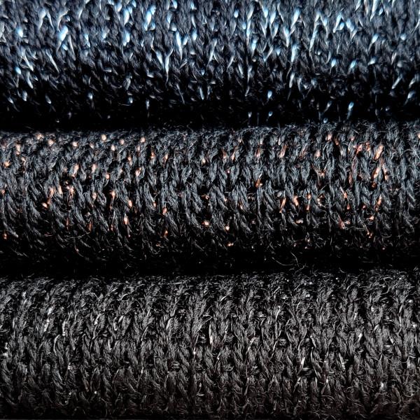 Black with black lurex, bronze lurex, silver lurex