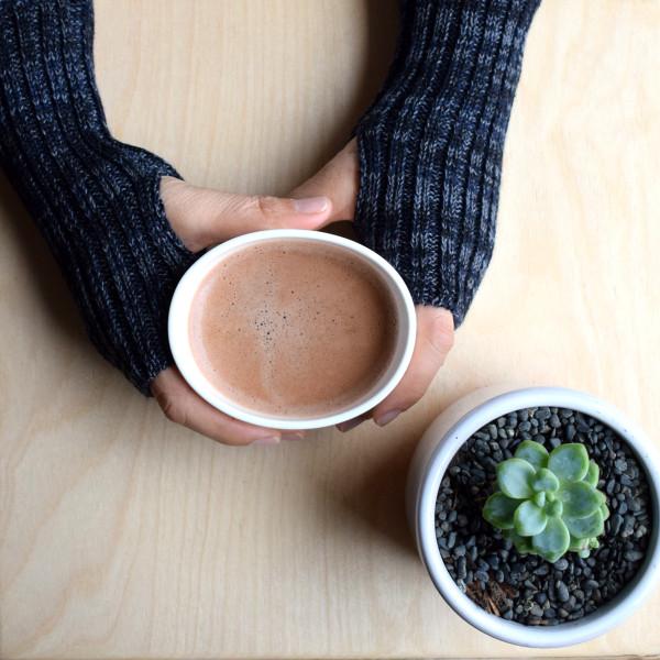 Wool wrist warmers - navy marl