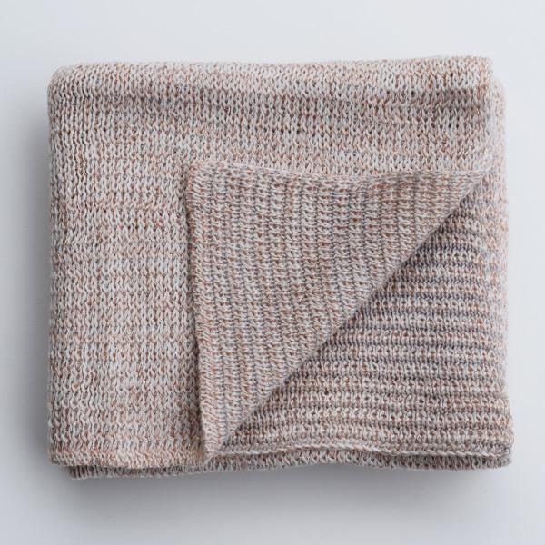 Merino & Lurex Baby Blanket - Apricot