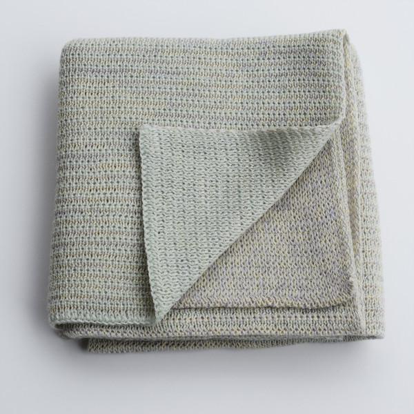 Merino knitted baby blanket - mint and lemon