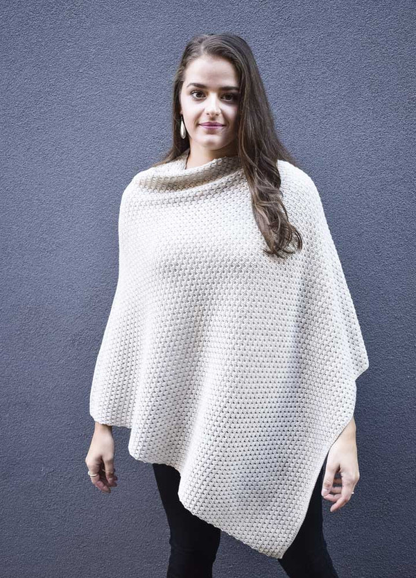 Textured Wool Poncho in Linen