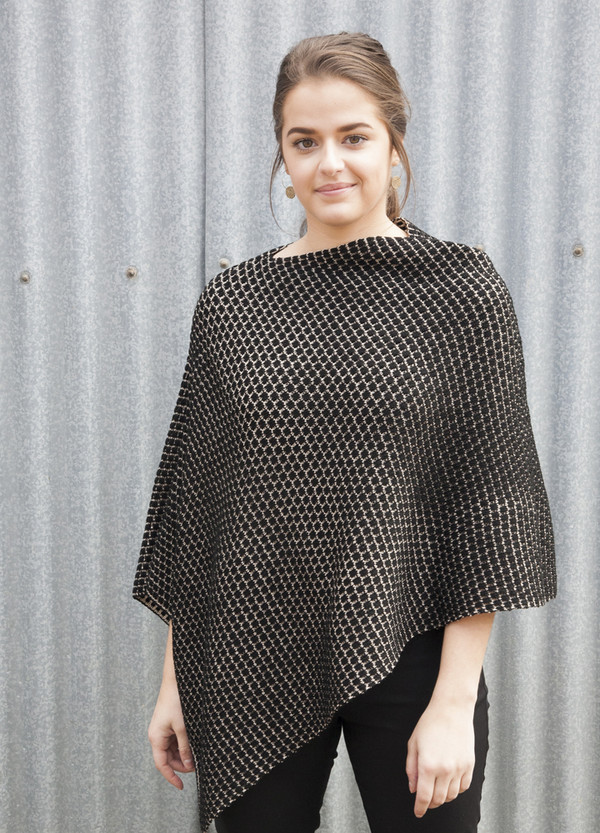 Poncho - Merino Wool - Patterned