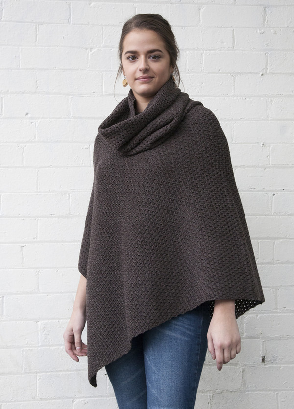 Textured Loop Scarf and matching Textured Poncho - Ash Brown