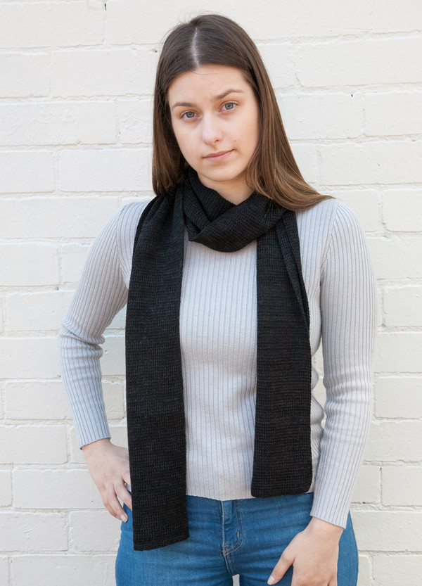 black basic merino wool scarf