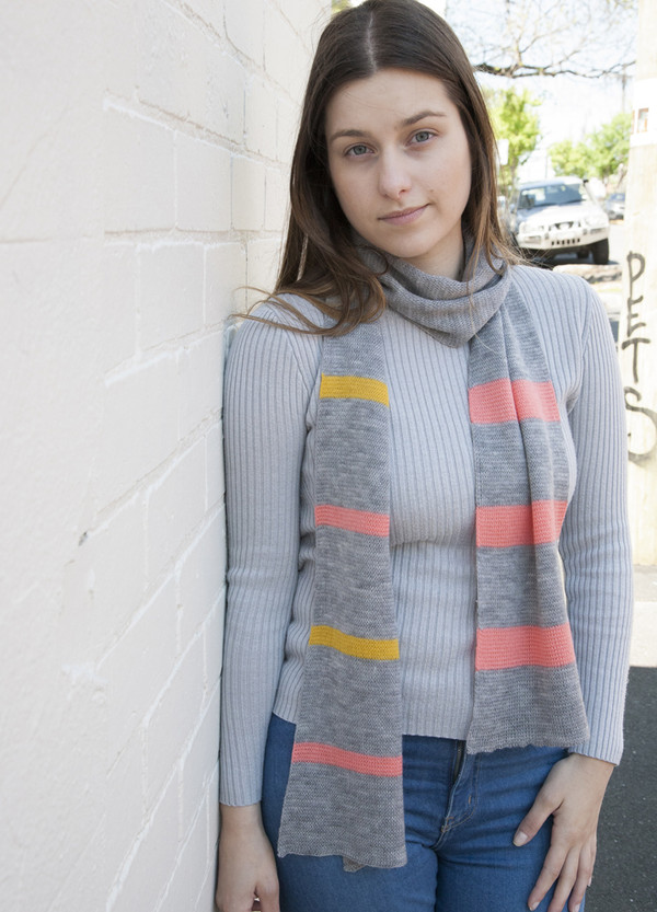 Scarf - Merino Wool - Striped Detail