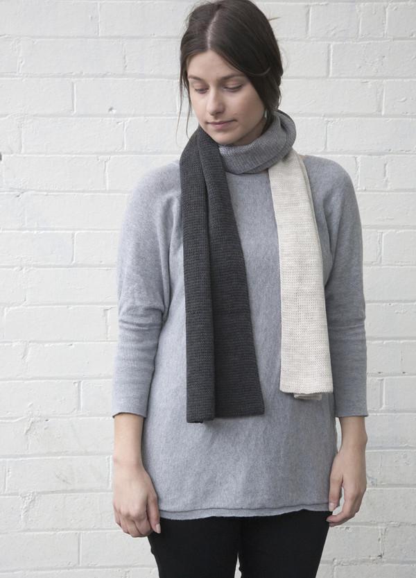 Grey Merino Wool Tri Colour Scarf
