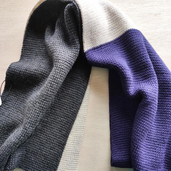 Deep Purple Merino Wool Tri Colour Scarf