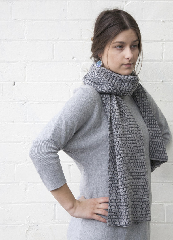 Grey Patterned Merino Wool Scarf