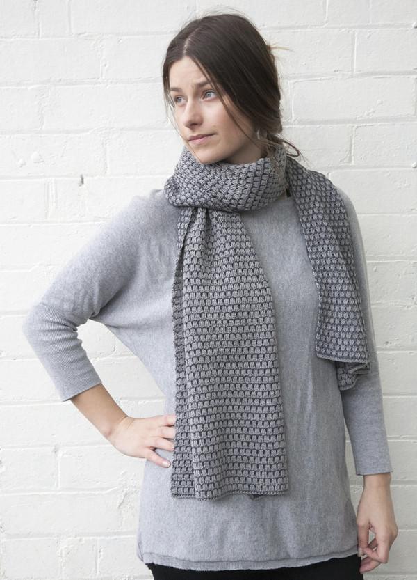 Grey Patterned Merino Wool Scarf