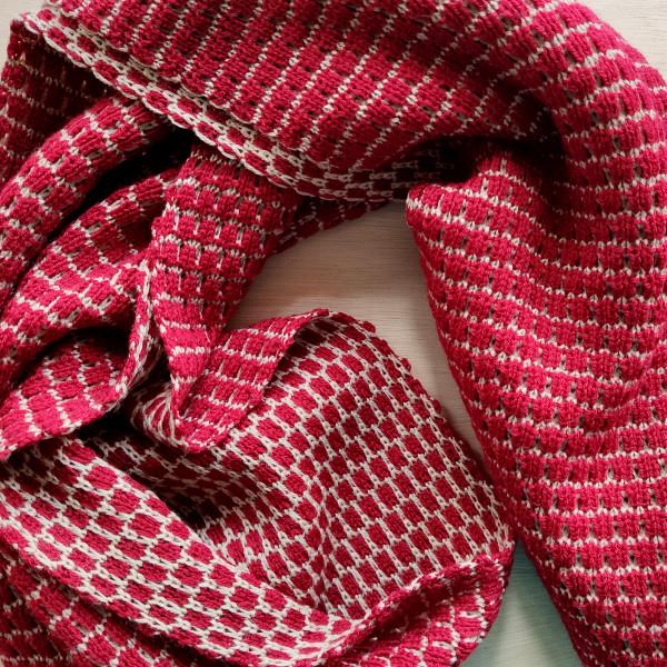 Red Patterned Merino Wool Scarf
