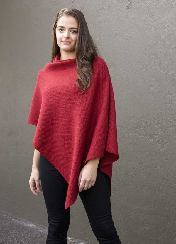 red merino wool poncho - classic