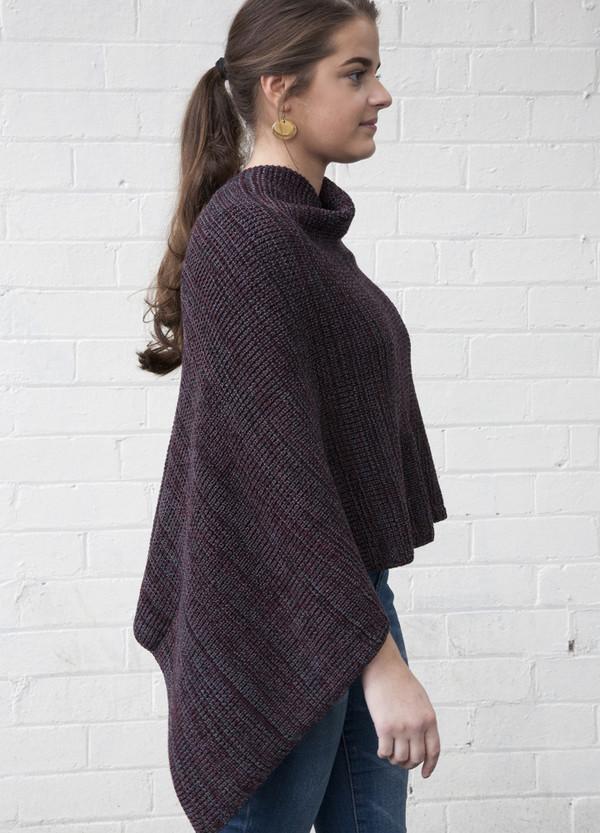 merino wool poncho - berry marl - chunky knit