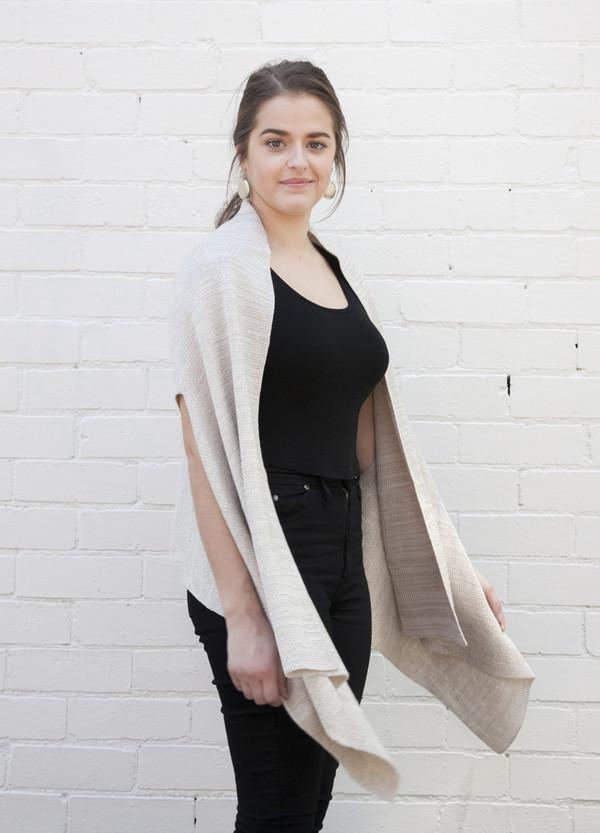 linen marl open vest