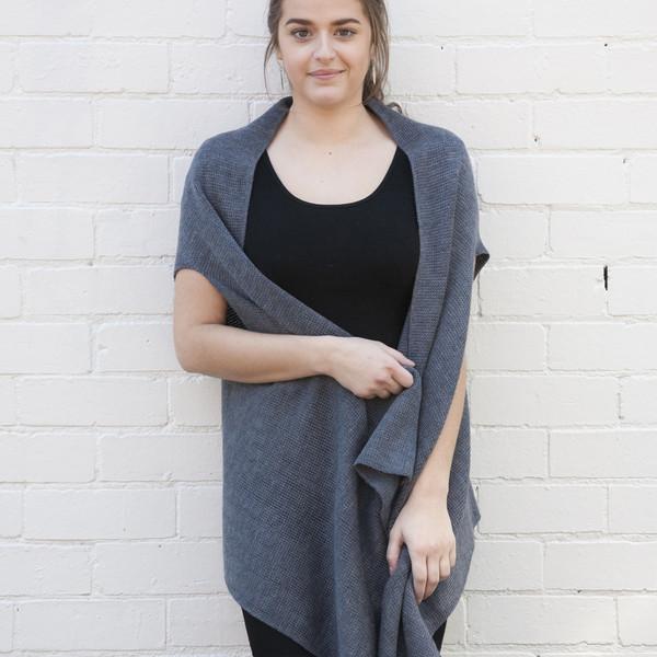 dark grey open wool vest