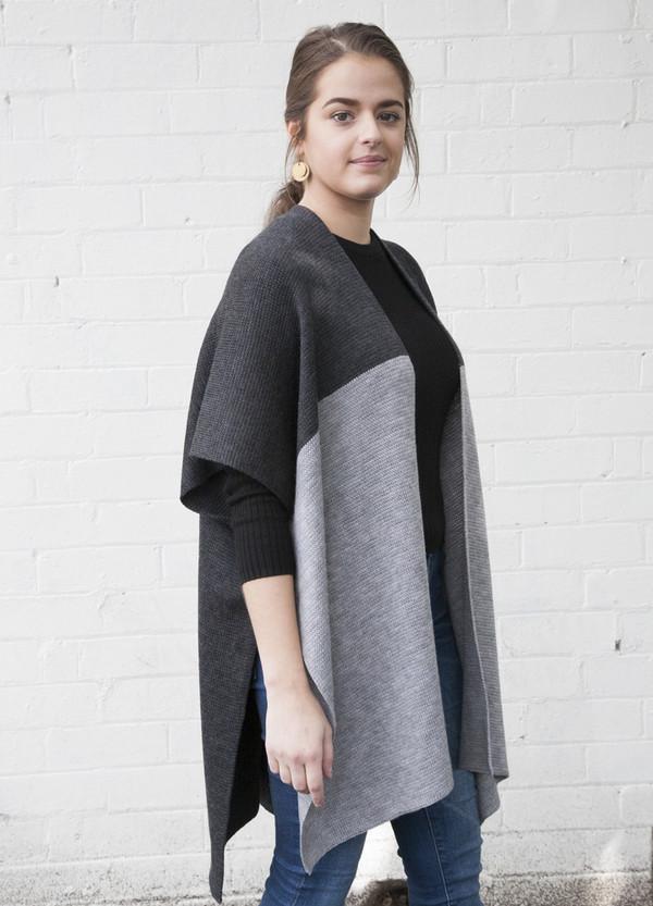 knitted two tone kimono