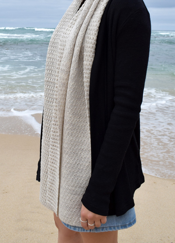 100% merino wool wrap in linen colour