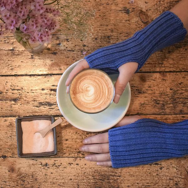 blue woolen wrist warmers