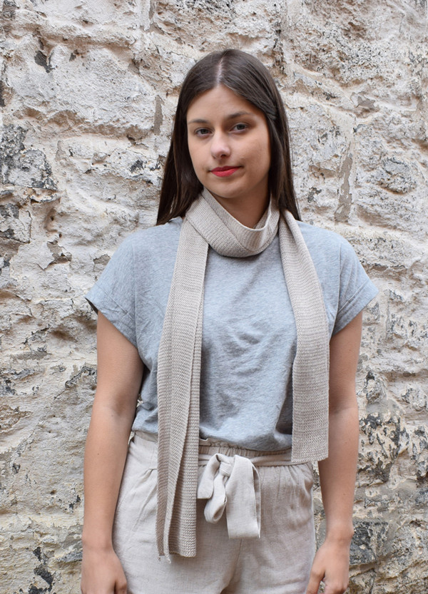 oyster cotton narrow scarf