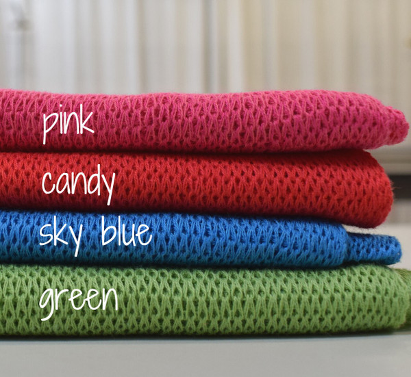pink, candy, sky blue, green