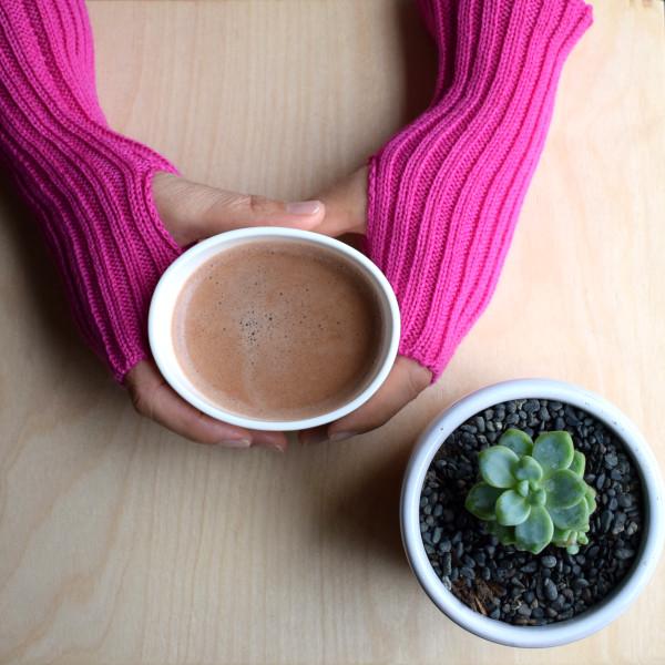 Wool Wrist Warmers - Hot Pink