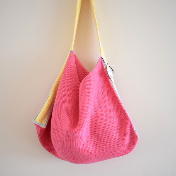 Knitted Cotton Tote Bag - Pink with Yellow Strap