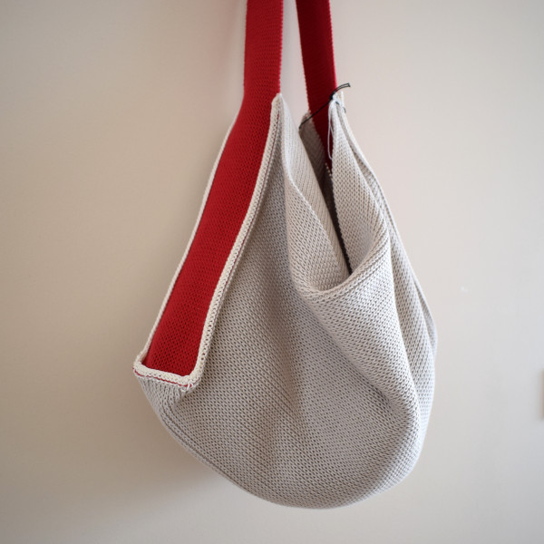 Knitted Cotton Tote Bag - Beige with Red Strap