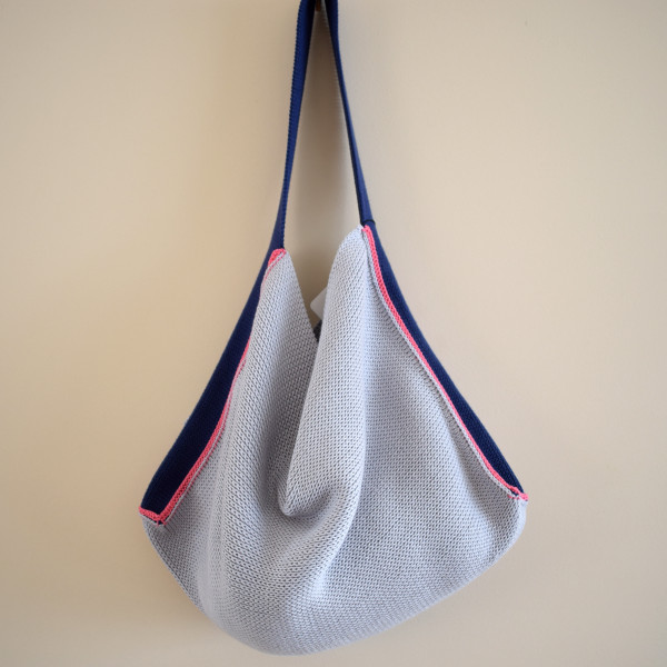 Knitted Cotton Tote Bag - Silver grey with navy strap