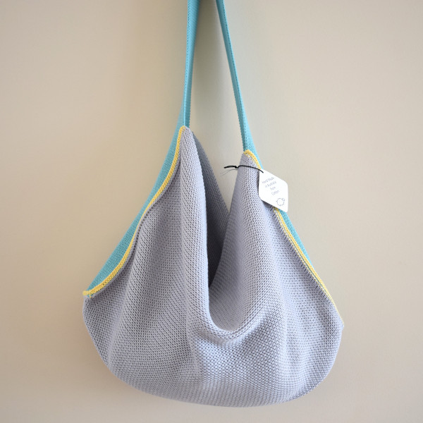 Knitted Cotton Tote Bag - Silver Grey with Aqua Blue strap