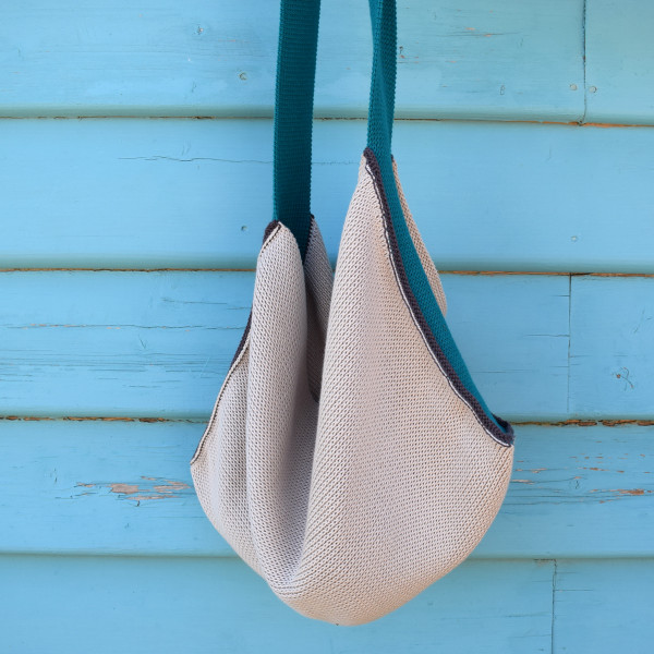 Knitted Cotton Tote Bag - Beige with teal blue strap