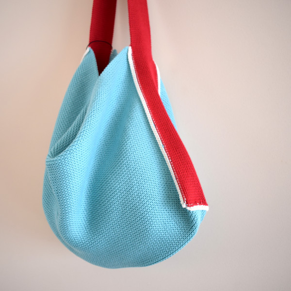 Knitted Cotton Tote Bag - Aqua Blue with red strap