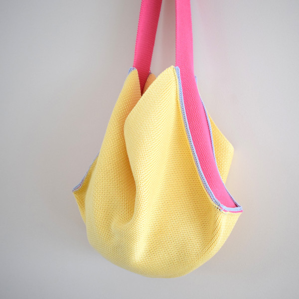 Knitted Cotton Tote Bag - Yellow with pink strap