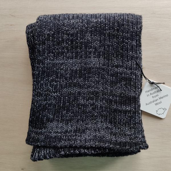 Navy/Grey Ribbed Merino Scarf