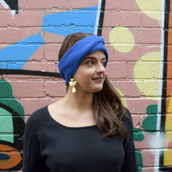 Wool headband in blue