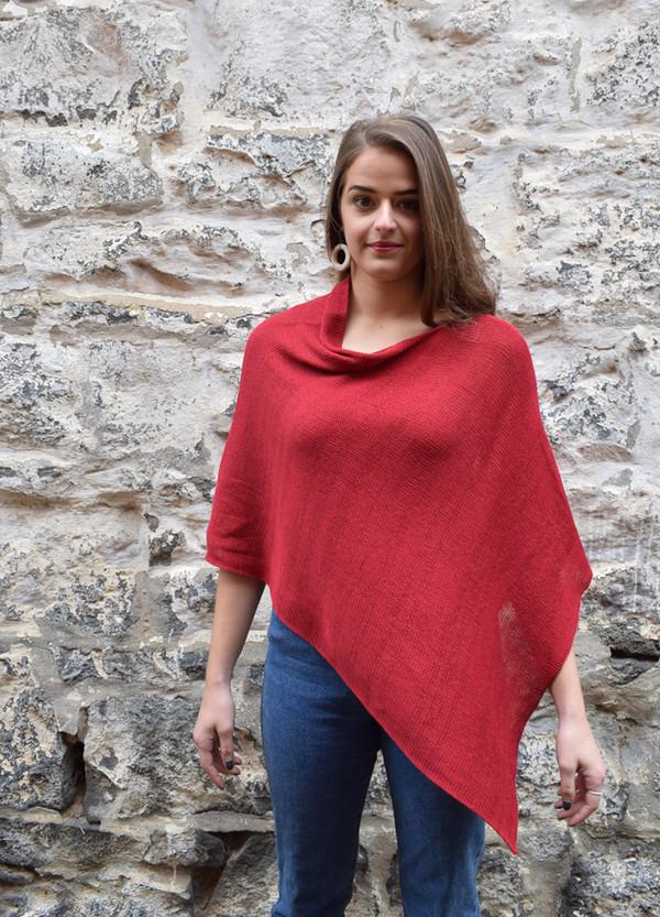 Cotton poncho garnet asymmetrical