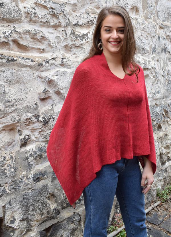Cotton poncho garnet v-neck