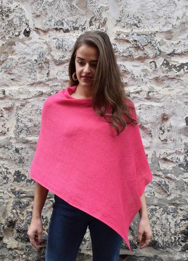 Cotton poncho pink asymmetrical