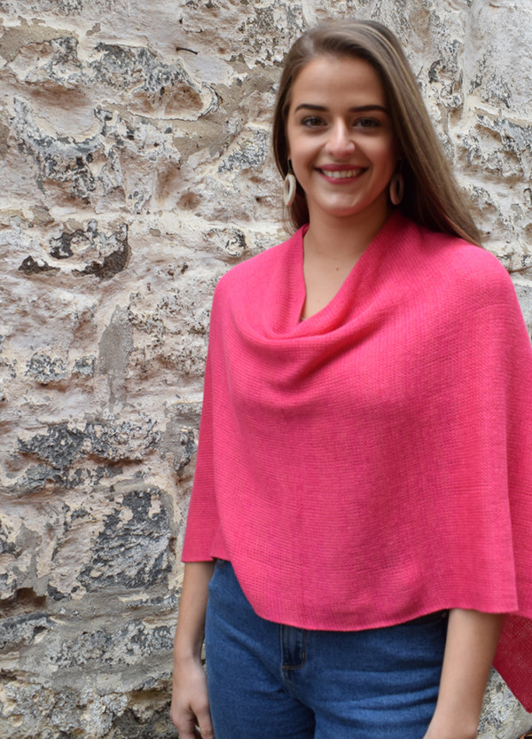 Cotton poncho pink cowl front