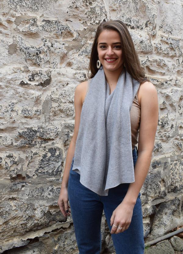 cotton poncho light grey scarf