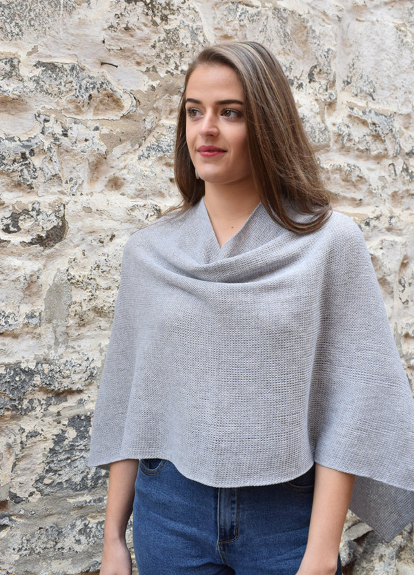 cotton poncho light grey cowl front