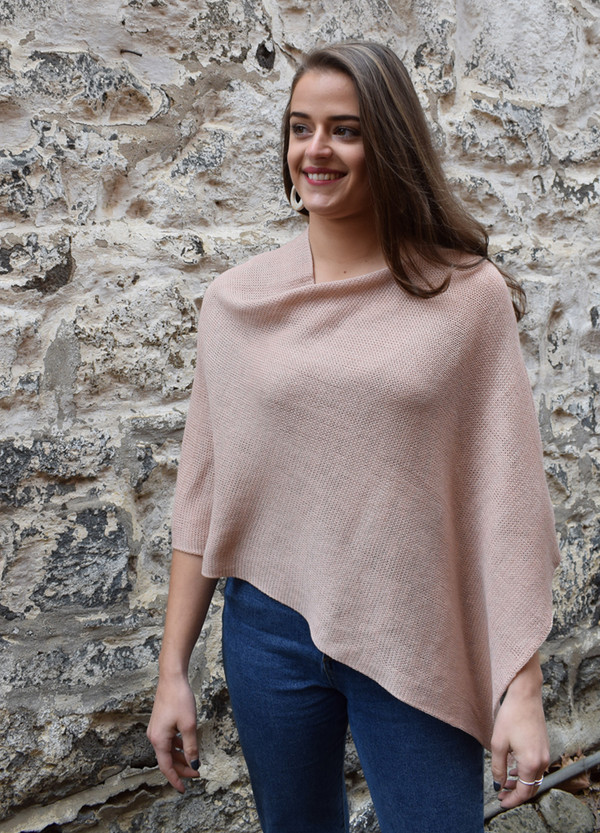 cotton poncho blush asymmetrical