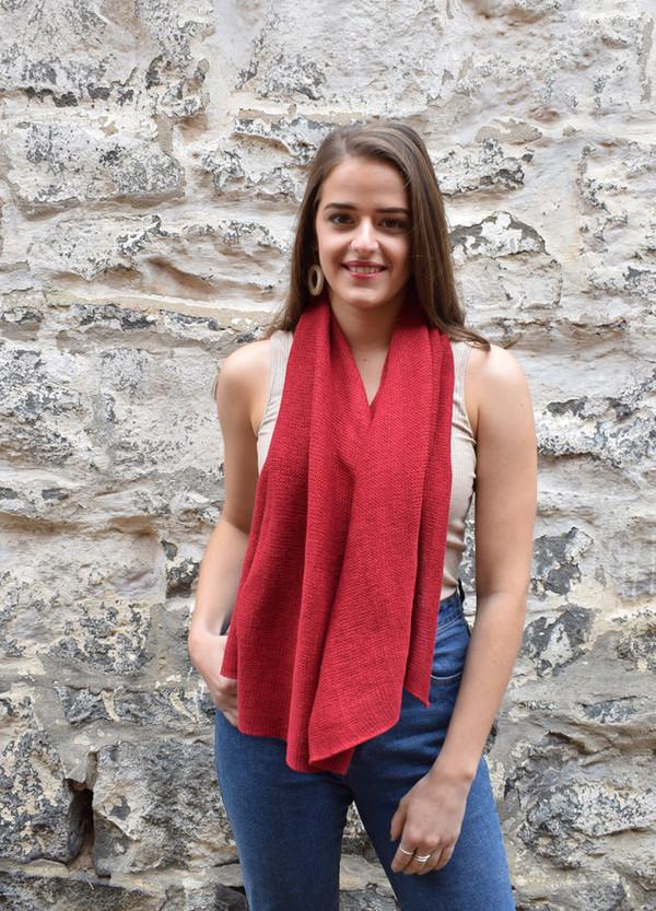 cotton poncho garnet worn as scarf