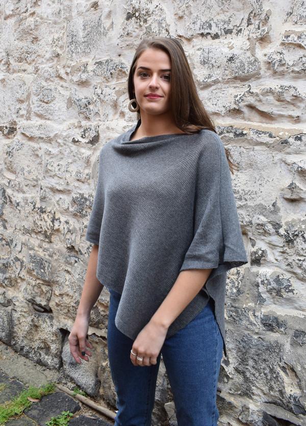 cotton poncho dark grey asymmetrical