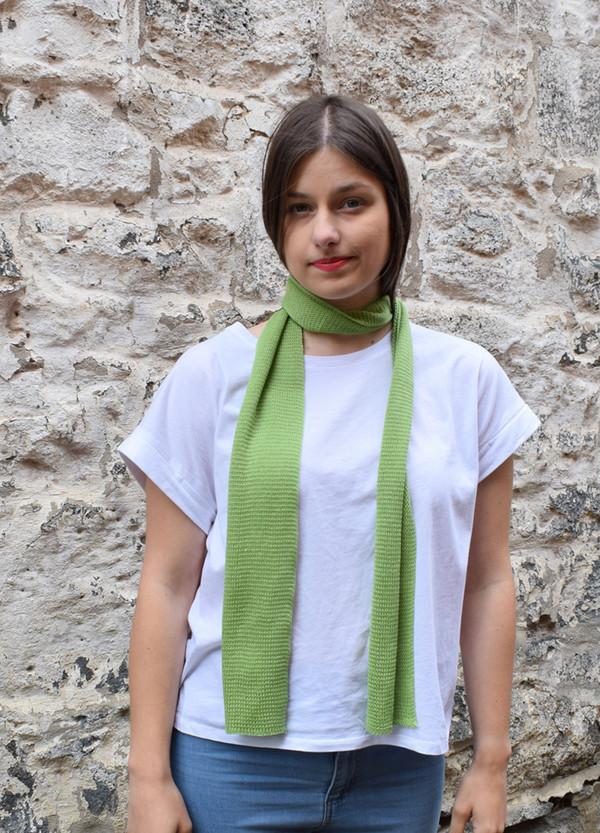 green, worn as neck scarf