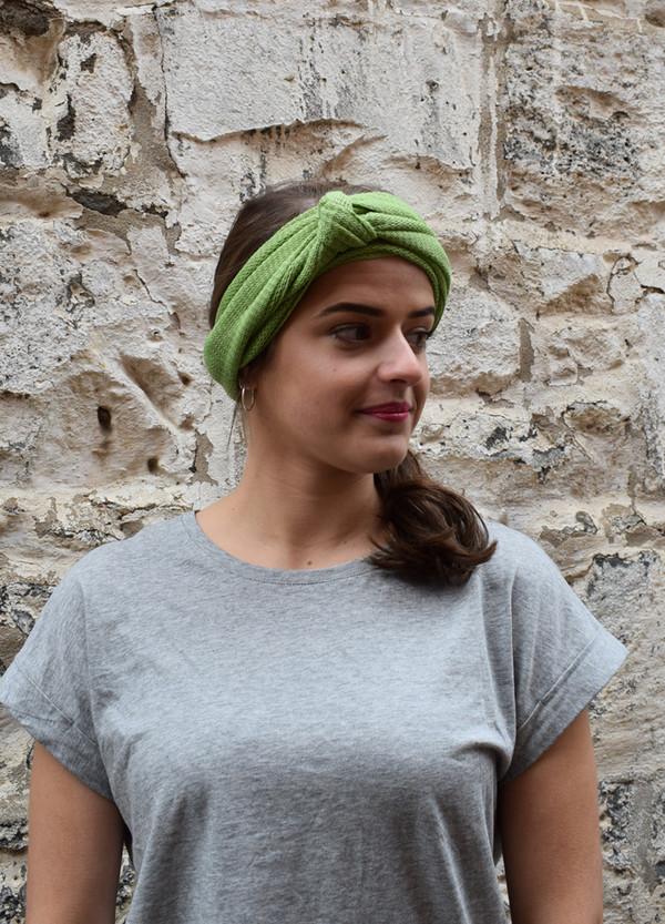 green, worn as headscarf