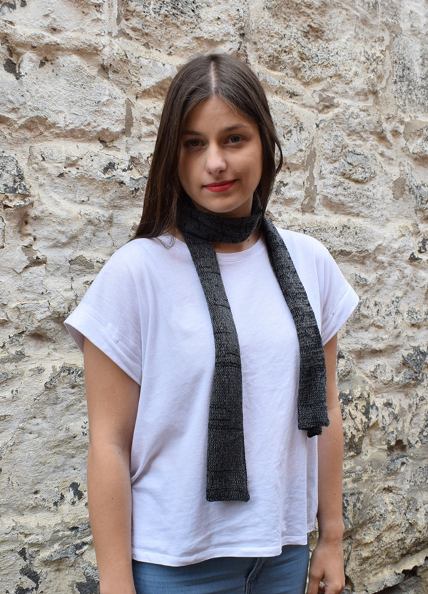 charcoal, worn as neck scarf